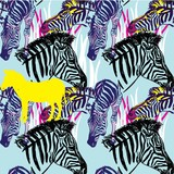 Seamless pattern with zebras. Multicolored horses, striped zebra. Pop Art. Stylish colorful background. Summer print. Figured markers.