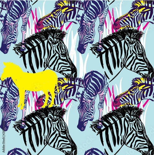 Seamless pattern with zebras. Multicolored horses, striped zebra. Pop Art. Stylish colorful background. Summer print. Figured markers. - 261147860