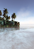 concept art of peaceful tropical environment with majestic sky - 261179896