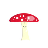 cheerful and smiling mushroom amanita with a red spotted hat
