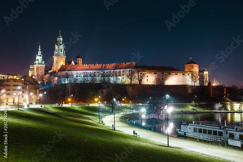 Wawel Castle in Krakow seen from the Vistula boulevards. Krakow is the most famous landmark in Poland