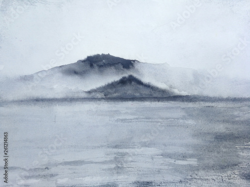 watercolor ink landscape mountain fog and field .traditional oriental ink asia art style. © atichat