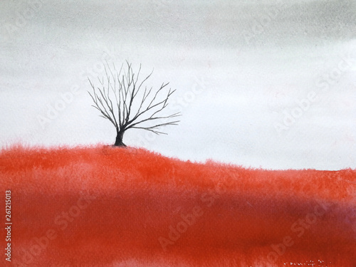 watercolor landscape dead tree stand alone in red meadow field. © atichat