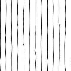 Hand painted black ink stipes. Vector seamless pattern with simple lines on white background.