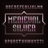 Medieval Silver alphabet font. Ornate metal letters and numbers with gemstones. Stock vector typeface for your design.