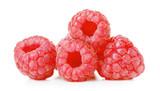 fresh raspberries on white background