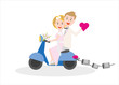 young couple just married sitting on an Italian scooter - 261239873