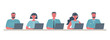 Web banner of call center workers. Young men and women in headphones sitting at the table on a white background. People icons. Funky flat style. Vector illustration. - 261240451