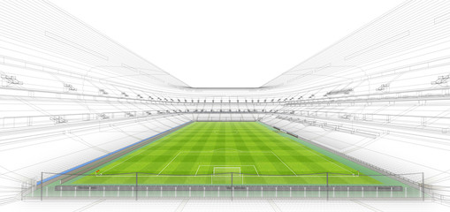 3D wireframe of stadium or sport arena. Sports background