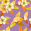 Vector seamless spring background with white and pink flowers with green and yellow leaves - 261242039