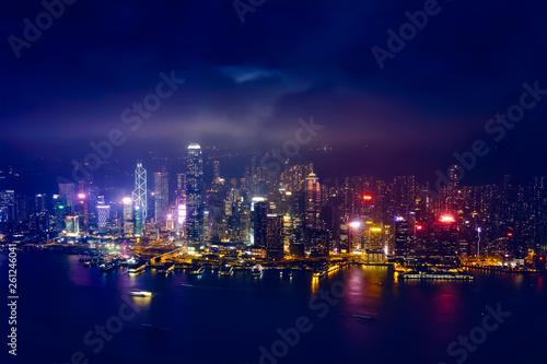 fototapeta na ścianę Aerial view of illuminated Hong Kong skyline. Hong Kong, China