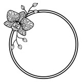 Vector orchid round frame. Outline exotic flower. Branches with buds.