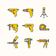 The set of the tools for the repair of apartments. Vector line icons. Instruments of masters
