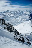 Panoramic view of the snowy alpine mountains. Lech, Austria