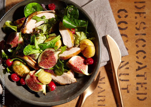 fototapeta na ścianę Wild game salad with pheasant, chestnuts and figs