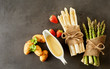 Assorted ingredients for gourmet spring appetizer