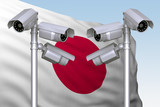 group of video cameras on background of flag of Japan