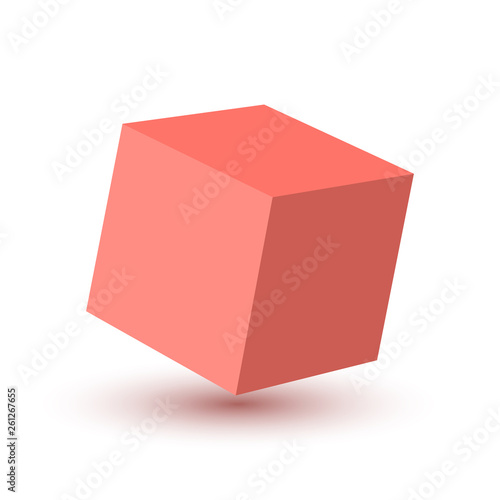 Pink Cube icon. Vector illustration. - 261267655