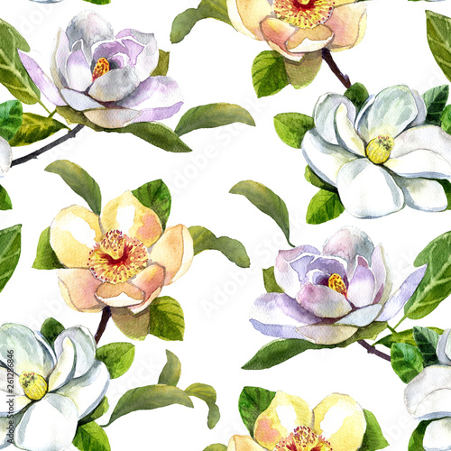 watercolor pattern magnolia flowers, white magnolia, pink and yellow magnolia seamless vintage pattern on white - 261286846