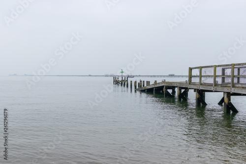 old broken wooden pier with seagulls © Dmytro