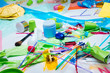 Plastic items harming and polluting nature lying on the floor