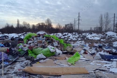 canvas print picture Ecology of Ukraine. Nature near Ukrainian capital.Environmental contamination. Illegal junk dump. Near Kiev, Ukraine