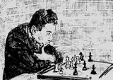 Young chess player thinks about the move in chess. Chessplayer profile, chess pieces on checkerboard. Vintage engraving style. Monochrome hand drawn illustration. Vector.