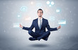 Leinwandbild Motiv Elegant calm businessman levitates in yoga position with data circulation concept