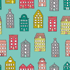 Vector seamless pattern with cute houses on blue background. Repeat backdrop with city, town, urban motif. Good for wallpaper, wrapping, children, stationery design