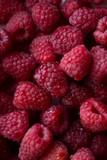 fresh raspberry macro top view