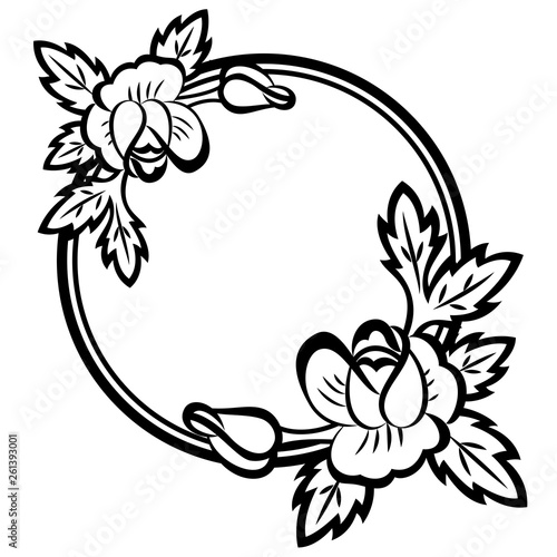 Decorative round flowers frame with black and white roses, monochrome plants, contour. Template for print, invitation and greeting card. Eps10 vector illustration. © Yana