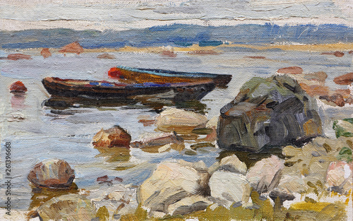 Two boats at the rocky shore © parsadanov