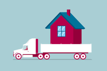 Transport the house truck. Isolated on blue background.