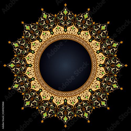 Arabic circle floral pattern islamic vector ornament decoration - 261425866
