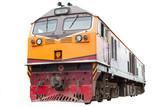 Locomotive on white background