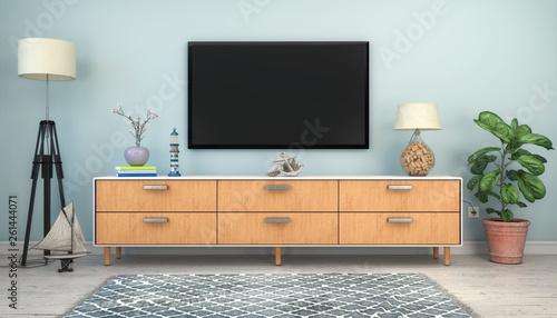 Leinwandbild Motiv 3d Illustration - Skandinavisches, nordisches Wohnzimmer mit einem Sideboard und Flatscreen - Textfreiraum - Platzhalter
