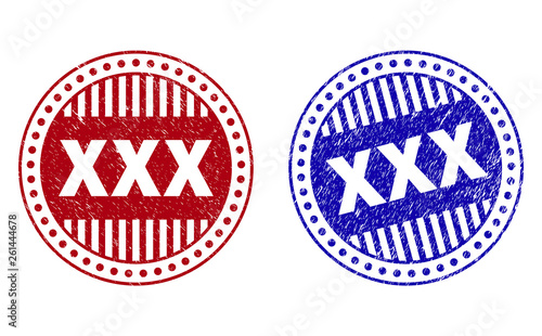 Grunge XXX round stamp seals isolated on a white background. Round seals with grunge texture in red and blue colors. Vector rubber watermark of XXX title inside circle form with stripes.