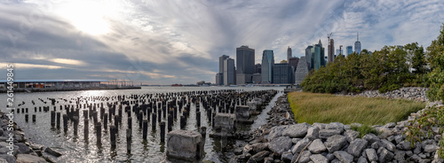 Panorama of skyscrapers of downtown Manhattan over East River, viewed from Brooklyn Bridge Park, in Brooklyn, New York, USA - 261449845