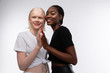 Skinny models with different skin color enjoying cooperation