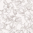 Seamless pattern, background with blooming magnolia flowers. Outline drawing. - 261464444