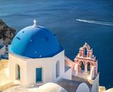Santorini island church, white and blue