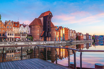 Gdansk old town and famous crane at amazing sunrise. Gdansk. Poland