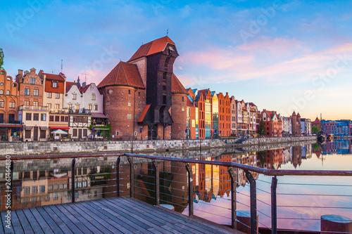 Leinwandbild Motiv Gdansk old town and famous crane at amazing sunrise. Gdansk. Poland