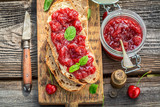 Homemade sandwich with jam made of cherries