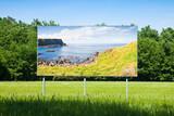 Billboard in a rural scene with Irish landscape - concept image