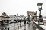 Chain Bridge over Danube river at winter in Budapest