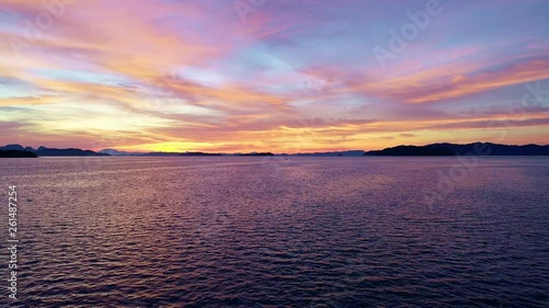 Aerial view Drone flying over tropical sea in beautiful sunrise scenery nature view