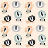 Seamless childish pattern with cute lions. Creative kids texture for fabric, wrapping, textile, wallpaper, apparel. Vector illustration - 261493880