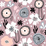 Seamless pattern with flowers,palm branch, leaves. Creative floral texture in pastel colors. Great for fabric, textile Vector Illustration - 261494413