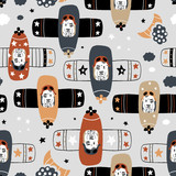 Seamless childish pattern with tigers pilot on planes . Creative hand drawn kids texture for fabric, wrapping, textile, wallpaper, apparel. Vector illustration - 261494416